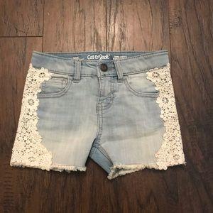 Cat & Jack denim Lace Girls Shorts 4/5 XS